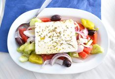 Greek mediterranean salad with the greek cheese feta Stock Photography