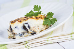 Traditional Greek moussaka stock images