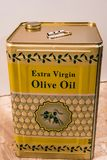 Traditional greek olive oil can. Close up of a traditional olive oil can Stock Photos