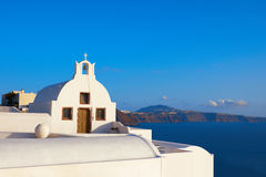 Traditional Greek Orthodox chapel in Oia village, Santorini, Gre Royalty Free Stock Photo