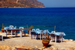 Traditional greek outdoor restaurant Greece Royalty Free Stock Photos