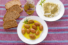Traditional Greek salad with feta cheese, bread and olives Royalty Free Stock Photo