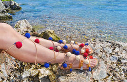 Traditional greek sandals advertisement Royalty Free Stock Photography