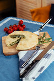 Traditional Greek spinach pie with puff pastry Stock Images