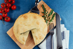 Traditional Greek spinach pie with puff pastry Royalty Free Stock Photography