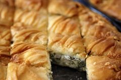 Traditional Spinach pie. Traditional greek spinach  pie spanakopita Royalty Free Stock Photos