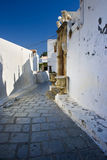 Traditional Greek street in Lindos, Rhodes Stock Photo