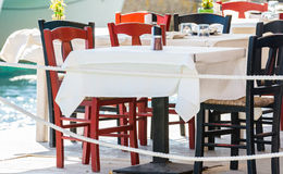 Traditional Greek table at cafe on Crete island Royalty Free Stock Photography