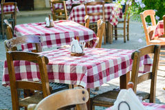 Traditional Greek table at cafe on Crete island Royalty Free Stock Image