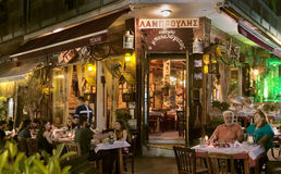 Traditional Greek Tavern at night. Stock Image