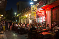 Traditional Greek Tavern at night. Stock Images
