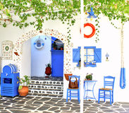 Traditional Greek tavern, on Santorini island Royalty Free Stock Images