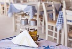 Traditional greek taverna detail. Detail image of a traditional greek taverna restaurant royalty free stock photos