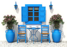 Traditional greek terrace. With blue tables and chairs - 3D illustration Royalty Free Stock Photo