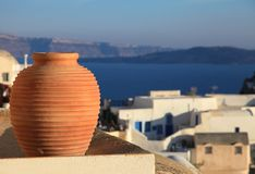 Traditional greek vase with caldera view Stock Image