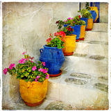 Traditional greek vilage style Stock Photos
