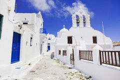 Traditional greek village in Amorgos island, Greece. Beautiful greek street in Amorgos island, Greece Royalty Free Stock Image