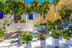 Traditional greek village house and patio Stock Image