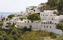 Traditional Greek village of Lindos at Rhodes Stock Photo