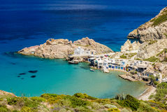 Traditional Greek village by the sea stock images