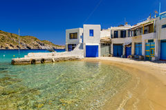Traditional Greek village by the sea stock photography