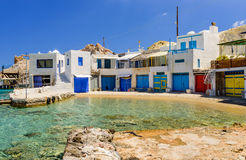 Traditional Greek village by the sea royalty free stock photo