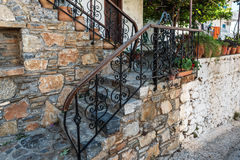Traditional Greek vintage stairs with beautiful handrails Stock Images