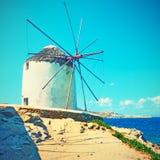 Traditional greek windmill in Mykonos royalty free stock photos