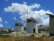 Traditional greek windmills Stock Photography