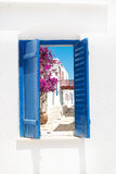 Traditional greek window on Sifnos island Stock Photography