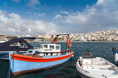 Traditional Greek wooden fishing boat at port of Sitia town in eastern part of Crete island, Greece Royalty Free Stock Photo