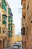 Traditional green balconies at Valletta old town. Malta Royalty Free Stock Photography