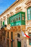 Traditional green balcony on St George Square Valletta old town. Traditional green balcony on St George Square, Valletta old town, Malta Royalty Free Stock Image