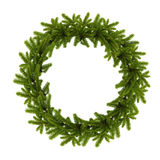 Traditional green christmas wreath isolated on white background. Festive decoration stock photos