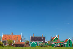 Traditional green Dutch historic houses Stock Images