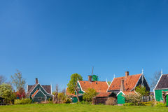 Traditional green Dutch historic houses Royalty Free Stock Image