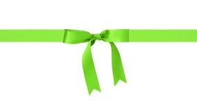 Traditional green ribbon bow border Stock Photo