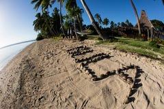 Traditional Greeting of Bula on Fijian Beach Royalty Free Stock Photos