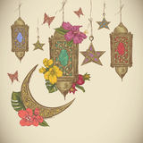 Traditional greeting card with arabic  lantern Stock Photography