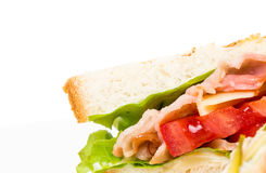 Traditional grilled club sandwich with chicken. Royalty Free Stock Image