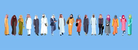 Traditional group of arab male and Female. Traditional group of male and female arab. Web banner with group of arab people. Vector design Stock Images