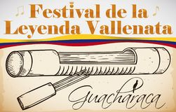 Traditional Guacharaca with Fork for Colombian Vallenato Legend Festival, Vector Illustration vector illustration
