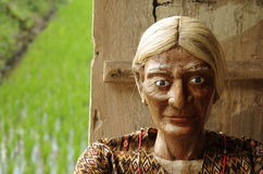 Traditional guardian of a grave - Tau Tau - wood c. Carved puppet made of wood, spiritual guardian, rice paddy in the background. Toraja Highlands, Sulawesi Stock Photos