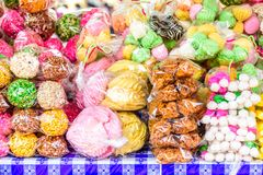 Guatemalan candy stall, Antigua, Guatemala. Traditional Guatemalan candies on a street stall during Holy Week, Antigua, Guatemala royalty free stock image