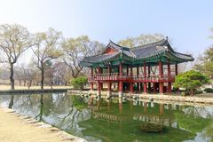 Traditional Gwanghalluwon Pavilion scene in spring. Namwon, South Korea - March 25, 2018 : Traditional Gwanghalluwon Pavilion scene in spring Royalty Free Stock Images