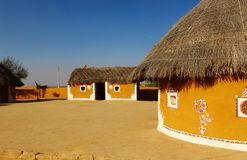 Traditional gypsy tribe village Rajasthan india. Ethnic gypsy village and mud house eco friendly architecture india stock photos