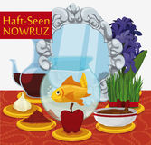 Traditional Haft-Seen Table Ready for Nowruz Celebration, Vector Illustration. Tabletop with Haft-seen elements for Nowruz: sonbol -hyacinth-, sabzeh -grass Royalty Free Stock Photography