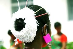 The traditional hair style of folk artist. Royalty Free Stock Images