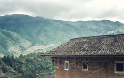Traditional Hakka house details. View from a Traditional hakka earthen houses in china. classified as world unesco heritage, lnature landscape of the green Royalty Free Stock Image