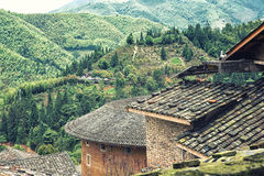 Traditional Hakka house details. View from a Traditional hakka earthen houses in china. classified as world unesco heritage, lnature landscape of the green Stock Photography